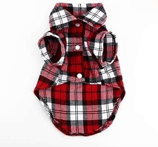 BPBZONE Dog Plaid T Shirt Pet Puppy Flannel Doggie Pet Fashion Clothes Plaid