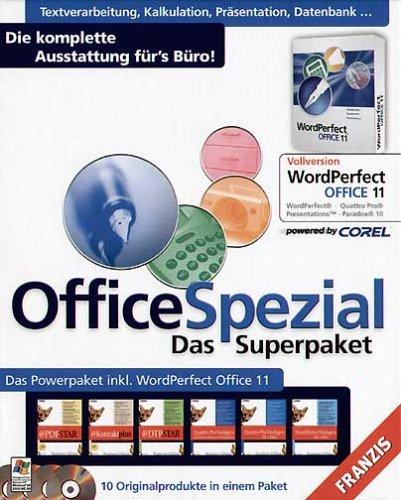 Office Spezial - Das Superpaket, 4 CD-ROMs Die komplette Ausstattung für's Büro. Mit WordPerfect Office 11. Für Windows 98 SE/ME/XP (SP1 u. SP2)/2000 (SP3)/NT 4 (SP6a)