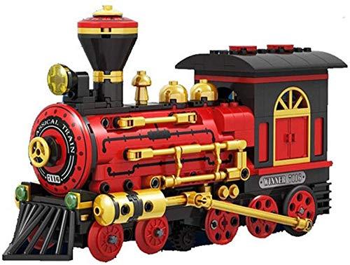 Bausteine Zug mit Motor, elektrische Lokomotive, historischer Express Zug mit Motor