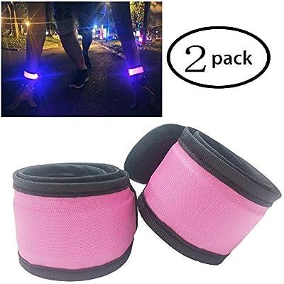 Aoparada Pack of 2 LED Light Up Armband Reflective Gear Lights Slap Bracelets for Women Men Kids Night Running Dog Walking Safety (2 Pack - Pink)