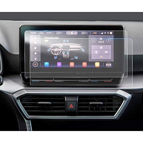 LFOTPP Seat Leon MK4 10 Pulgadas Protector Pantalla Navegación, PET Película Protectora GPS Radio Coche Interior Accesorios (2 unidades)