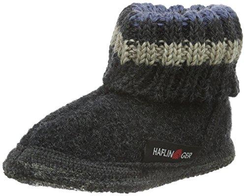 Haflinger Paul, Hüttenschuhe, Unisex-Baby, Walkstoff aus reiner Wolle ,Grau (Graphit 77) ,22