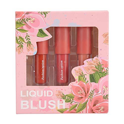 Set de colorete líquido para mejillas de 3 colores, maquillaje de rubor facial Efecto de rubor natural, sensación transpirable, rubor de color puro, aspecto natural, acabado húmedo, rubor facial miner