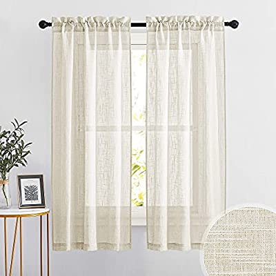 RYB HOME Linen Textured Sheer Curtains Thick Linen Look Luxurious Textured Weave Semi-Sheer, 2 Pieces.