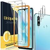[2+3 Pack] UniqueMe Compatible con Huawei P30 Lite / P30 Lite New Edition Protector de Pantalla y Protector de Lente de cámara, Vidrio Templado [9H Dureza] HD Film Cristal Templado