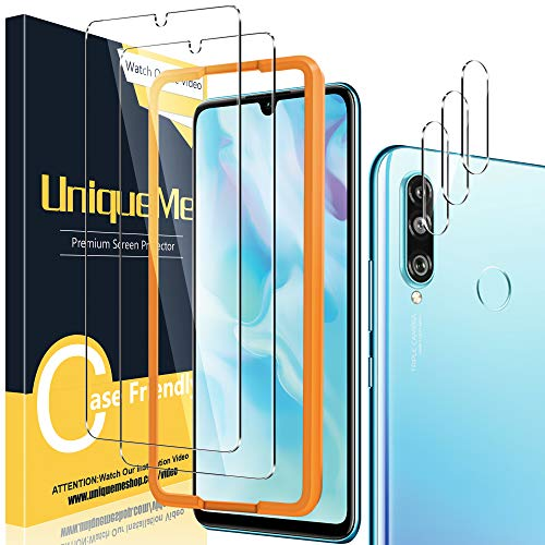 [2+3 Pack] UniqueMe Protector de Pantalla Compatible con Huawei P30 Lite + Protector de Lente de cámara, Vidrio Templado [9H Dureza] HD Film Cristal Templado