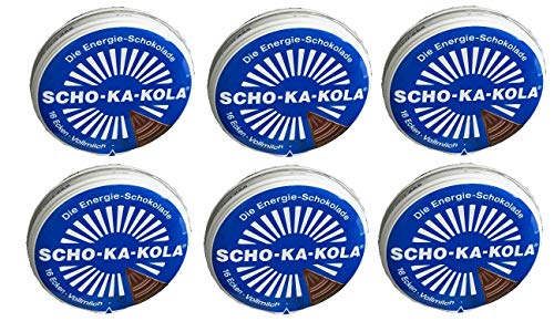 6 x 100 g Scho-Ka-Kola Vollmilch, Energieschokolade, koffeinhaltig