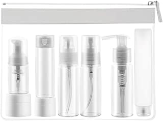 8 Travel Bottles, TSA Approved Leak Proof Travel Containers, Portable Travel Size Toiletries Silicone Bottles Set, Clear Cosmetic&Makeup Liquid Containers (8 Pack) with Zipper Bag
