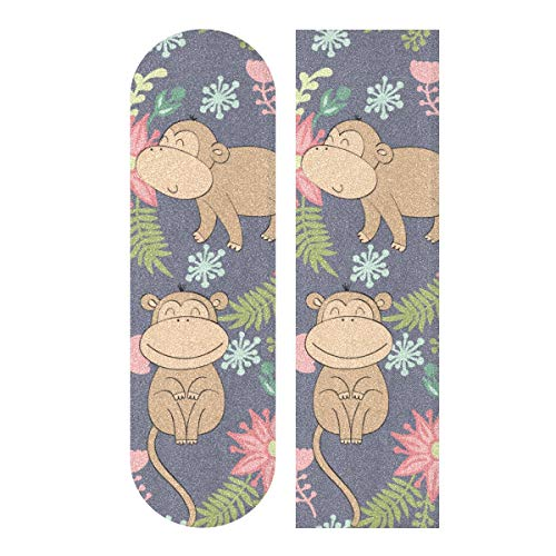 N\A 33.1x9.1inch Sport Outdoor Niedliches Skateboard Grip Tape Monkey Cute Lustige Waldtiere Drucken Wasserdichtes Custom Skateboard Grip Tape Für Tanzbrett Double Rocker Board Deck 1 Blatt
