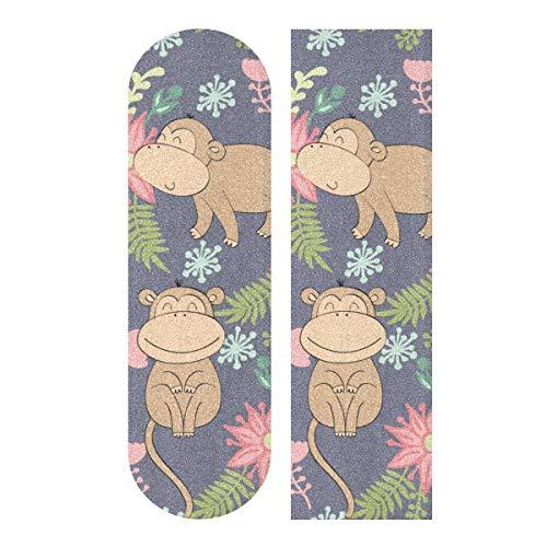 N\A 33.1x9.1inch Sport Outdoor Niedliches Skateboard Grip Tape Monkey Cute Lustige Waldtiere Drucken Wasserdichtes Custom Skateboard Grip Tape Für Tanzbrett Double Rocker Board Deck 1 Blatt