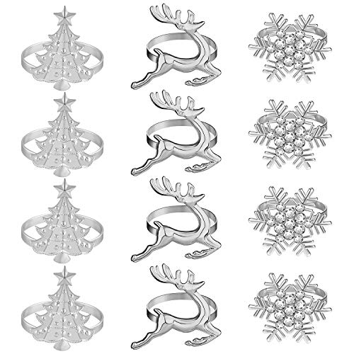 PLULON 12Pcs Christmas Napkin Rings Set, Xmas Snowflake Napkin Rings Deer Christmas Tree Napkin Rings Silver Napkin Holders Holiday Dinner Table Decor for Christmas Party (Silver, 12Pcs)