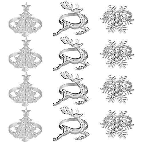 PLULON 12St Weihnachten Serviettenringe Set, Weihnachten Schneeflocke Hirsch Weihnachtsbaum Silber Serviettenhalter Feiertagsessen Tischdekoration für Weihnachtsfeier, Winter Wohnkultur