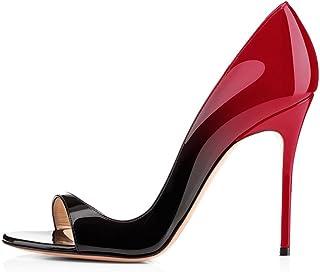 elashe Escarpins Femms Bout Ouvert Talon Aiguille 12cm Talon Haut Chaussures de Soirée Mariage