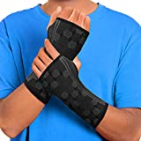 Sparthos Wrist Support Sleeves (Pair) – Medical Compression for Carpal Tunnel and Wrist Pain Relief – Wrist Brace for Men and Women (Medium, Midnight Black)
