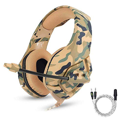 ZGYQGOO PS4 Gaming Headset 3,5 mm Stereo Camouflage Gaming Kopfhouml mit Noise Cancelling Mikrofon Gaming Headset Fuuml;r Xbox One S PC PS4 Smartphones Laptop-Computer