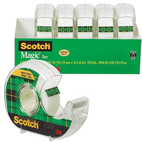3M スコッチ テープ メンディングテープ ディスペンサー付 19mm×16.5m 小巻 6巻 6122