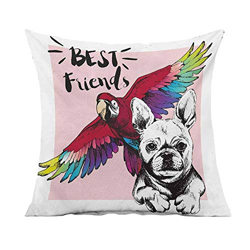 Modern Decorative Throw Pillow Cover,French Bulldog and Tropical Parrot Figure with Best Friends Phrase Portrait Design Square Pillow Case for Patio Couch Sofa Home Car Couch,18x18 Inches,Multicolor