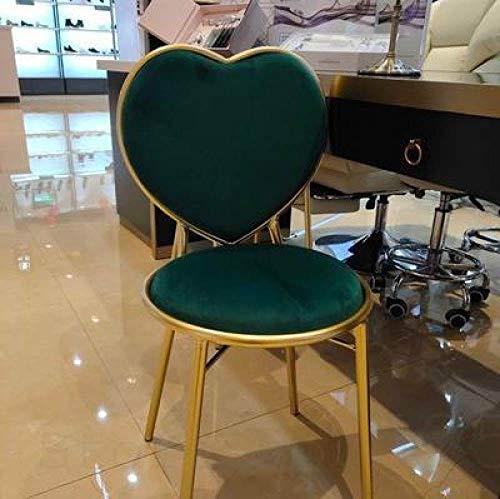 Stoel LKU Eetkamerstoel smeedijzeren hartvormige stoel manicure koffie fauteuil gouden eenvoudige kleedstoel, model7