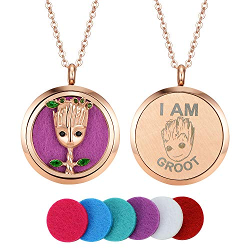 AZNECK Tree Groot Aromatherapy Necklace Rose Gold Essential Oil Diffuser Locket Pandent for Men Women Faurora Essential Oils Necklace Gift Set