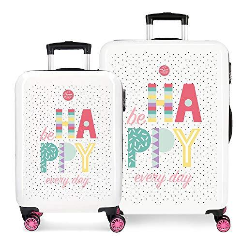 Enso Be Happy Juego de Maletas Rosa 55/68 cms Rígida ABS Cierre combinación 104L 4 Ruedas Dobles Equipaje de Mano