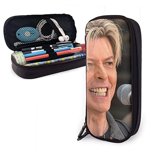 David Bowie - Estuche multifunción de piel sintética con cierre de cremallera, funda de transporte para suministros escolares, oficina