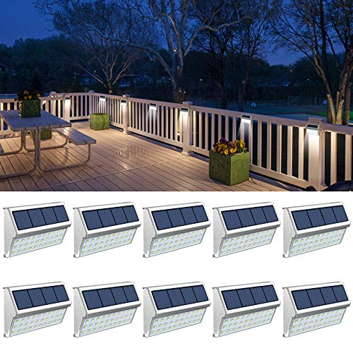 Fence Lights, Solar Deck Lights Outdoor with 30 LED Waterproof Step Lighting for Walkway Stairs 10 Pack Cool White