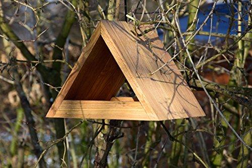 Luxus-Vogelhaus 46620e Modernes dreieckiges Eichenholz-Futterhaus mit Kordel-Aufhängung - 5