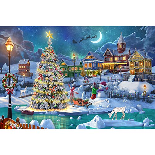 Becko Puzzle Wooden Jigsaw Puzzle 1000 Pieces for Adults and Kids - Snow Scene in Christmas Warm Christmas with Snowman Christmas Tree Christmas Deer for Christmas Thanksgiving Holiday
