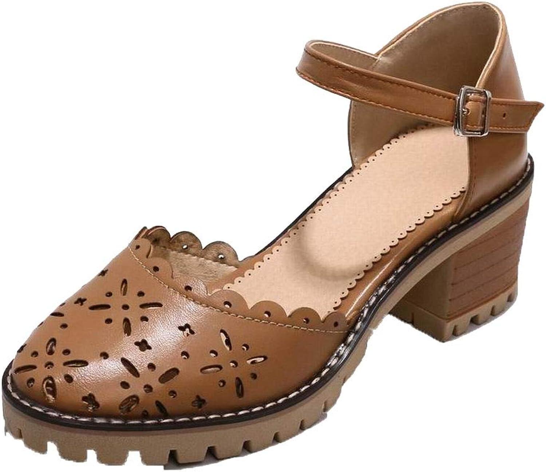 Weenmode Weenmode Weenmode Woherrar Solid Pu Kitten -klackar Round -Toe Buckle Sandals, AMGLX010301  till salu