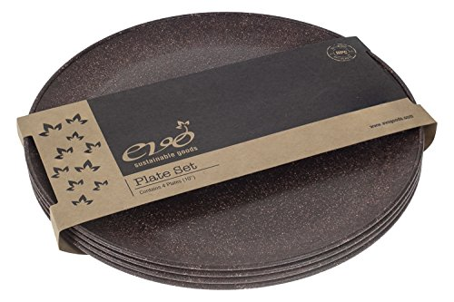 EVO Sustainable Goods 10' Plate, Set of Four, Dark Brown