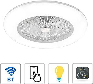 OWSOO Ventilador de Techo con Iluminación 180V-265V LED, Soporta App Control de Teléfono Móvil, Conexión BT, 3 Colores Ajustables, con Control Remoto, para Dormitorio/Sala/Comedor