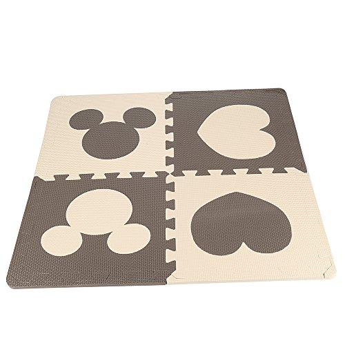 POPSPARKk Puzzlematte mit Mickey für Kinder und Baby,Schaumstoff-Bodenmatte,Spielzeug-Bodenmatte,Abnehmbar Matte, Schaumstoffmatte Bunt, 12 Stücke(6 Farbe*2) jeder Stück:32,5cmx32,5cmx1cm