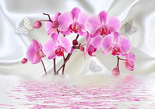 wandmotiv24 Fototapete Orchideen Schmetterlinge wasser Seide, XL 350 x 245 cm - 7 Teile, Fototapeten, Wandbild, Motivtapeten, Vlies-Tapeten, Blumen Reflektiert Stofftuch M4661