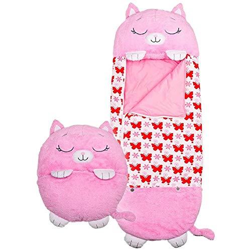 OUPDJ Saco de dormir y almohada (tamaño grande, 145 x 52 cm), cómodo, cómodo, compacto, super, suave, cálido, para todas las estaciones para niños y adolescentes y niñas, color rosa
