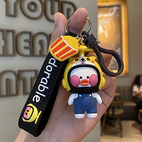 Label keychain Cartoon Little Yellow Duck Keyring Car Bamboo Dragonfly Helmet Keychain Schoolbag Pendant Cute Girl Boy Doll Lanyard Gift Kawaii Key Chains (Color : D Corgi)