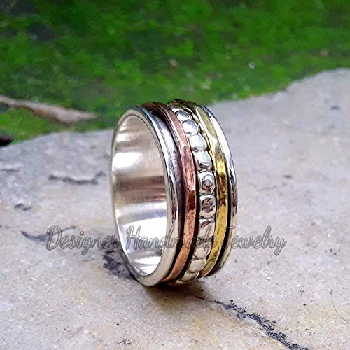 Spin Meditation Ring Wide Band Thumb Ring Silver Handmade Jewelry Handmade Silver /& Brass Ring Two Tone Ring
