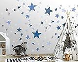 25 Sterne Wandtattoo fürs Kinderzimmer - Wandsticker Set - Pastell Farben, Baby Sternenhimmel zum Kleben Wandaufkleber Sticker Wanddeko - Wandfolie, Kleinkinder, Erstausstattung auf Rauhfaser Blau