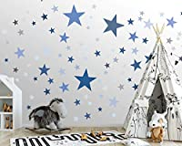 25 Sterne Wandtattoo fürs Kinderzimmer - Wandsticker Set – Pastell Farben, Baby Sternenhimmel zum Kleben Wandaufkleber Sticker Wanddeko - Wandfolie für Kleinkinder, Erstausstattung auf Rauhfaser Blau