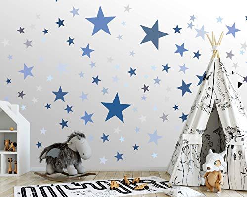 100 Sterne Wandtattoo fürs Kinderzimmer - Wandsticker Set - Pastell Farben, Baby Sternenhimmel zum Kleben Wandaufkleber Sticker Wanddeko - Wandfolie, Kleinkinder, Erstausstattung auf Rauhfaser Blau