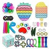Fidget Toys Pack, Pop Bubble Cheap Sensory Fidget Pack Stress Relief Toys,Fidget Toys Set with Simple-Dimples in It, Gifts for Kids Adults (Fidget Toys Pack D)