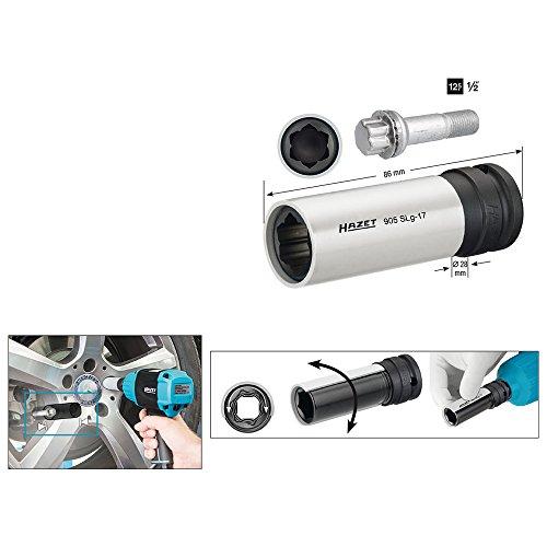 HAZET Steckschlüsseleinsatz (1/2 Zoll (12,5 mm) Vierkantantrieb, mit Kunststoffhülse zum Schutz von Felgen, mit Sonderprofil, Schlüsselweite: 17 mm) 905SLG-17
