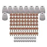 REFURBISHHOUSE/60Pzs Kit de Boquillas Y Puntas de Cortador de Plasma Largo Extendido de Cobre Rojo Mayitr Consumible Para Pt31 Lg40 40A Antorcha Soldadora de Corte