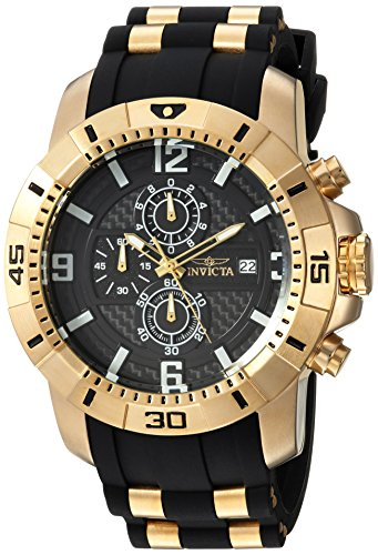 Invicta Men's 'Pro Diver' Quartz Gold-Tone and Stainless Steel Casual Watch, Color Black (Model: 24965)