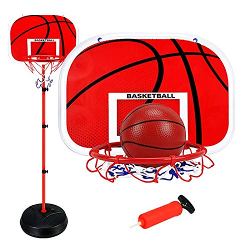 Canasta de baloncesto para niños, ajustable, para deportes de interior y exterior, con soporte ajustable en altura para dispositivos de deporte infantiles (1,65 m + 3 pelotas de baloncesto)
