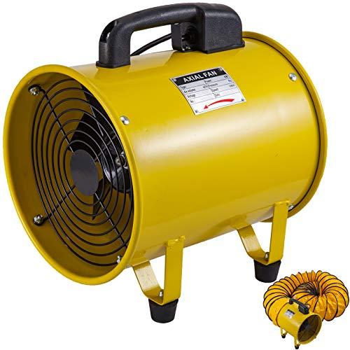OldFe 220V Baulüfter 250mm Axialventilator Axialgebläse 1750-2580m³/h Baugebläse für Fabriken Keller Werften Bauernhöfe mit 5m Schlauch