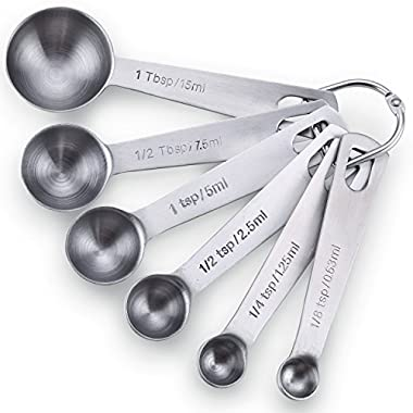 Latest Stainless Steel Measuring Spoons - Set of 6 for Measuring Dry and Liquid Ingredients - Comes With Lifetime Replacement Warranty - Will Fit Into Spice Jar