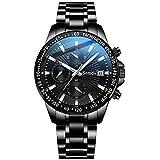 PVD Black 316L Stainless Steel Men Chronograph Luminous 3ATM Water Proof Quartz Watch (Black)