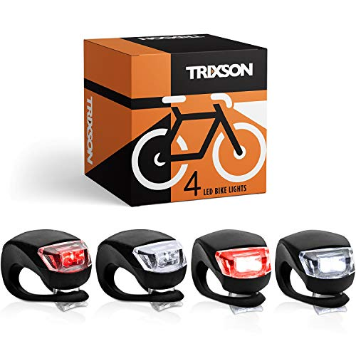 TRIXSON Bike Lights, Set of Front and Back   2-Pack LED Bicycle Headlight Set Will Help Keep You Safe When Riding at Night  , Long-Lasting Bike Headlight and Tail Light Are Super Easy to Install