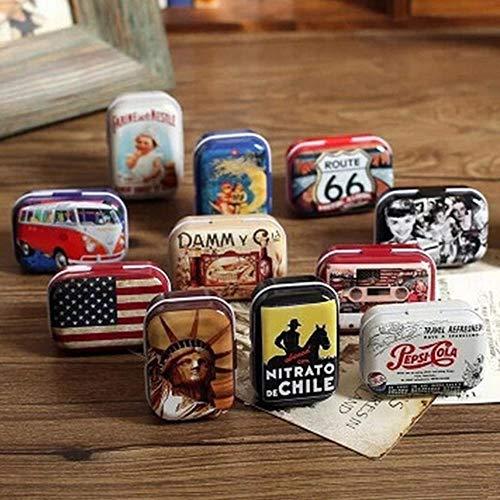 Aomerrt 3PC Protable American Style Mini Travel Tin Box Vintage metalen doos pillendoos