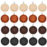 OBSEDE 20Pcs Wooden Pendant Trays Round Cabochon Bezels for Jewelry Findings Photo Pendant Cameo Settings Crafting Mixed 25mm